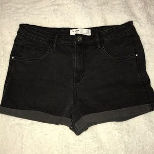Zara Black Denim Shorts with Cuffed Bottom
